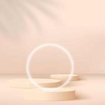 Fondo abstracto con podio 3d geométrico de color crema.