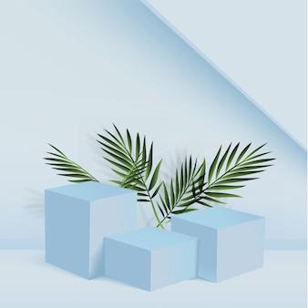Fondo abstracto con podios 3d geométricos de color azul.