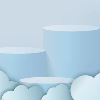 Fondo abstracto con podios 3d geométricos de color azul