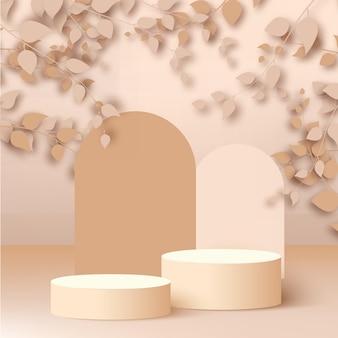 Fondo abstracto con podios 3d geométricos de color rosa. ilustración vectorial.