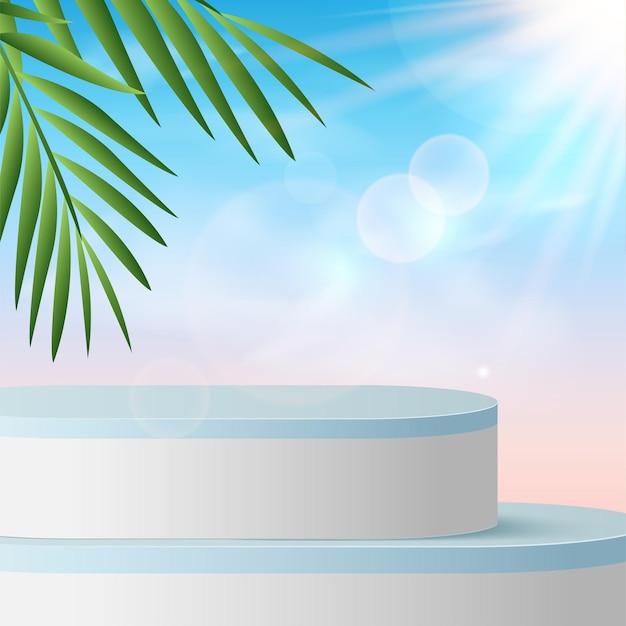 Fondo abstracto con podios de cielo 3d geométricos de color azul.