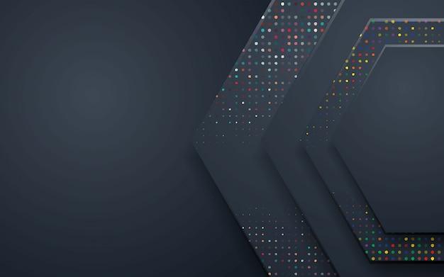 Fondo abstracto de polígono negro con brillos de colores