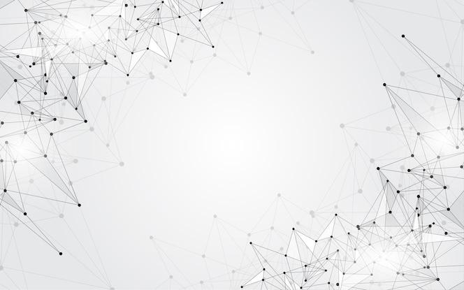 Fondo abstracto que conecta puntos de innovación y concepto de comunicación de línea