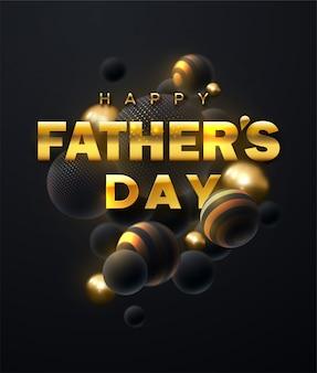Fondo abstracto con racimo de esferas 3d. burbujas doradas y negras. feliz día del padre. ilustración de vacaciones de etiqueta dorada sobre fondo negro