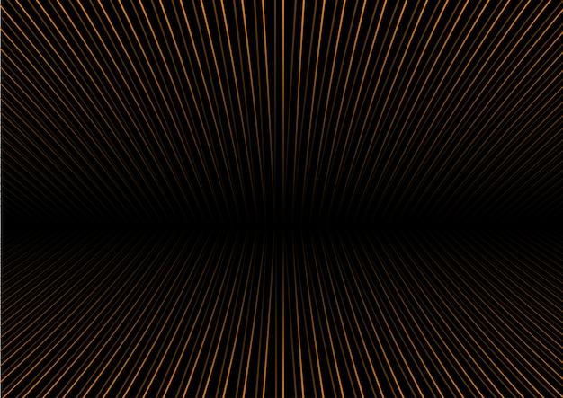 Fondo abstracto con rayas de oro perspectiva