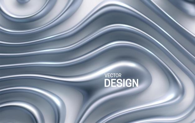 Fondo abstracto con rayas plateadas onduladas orgánicas