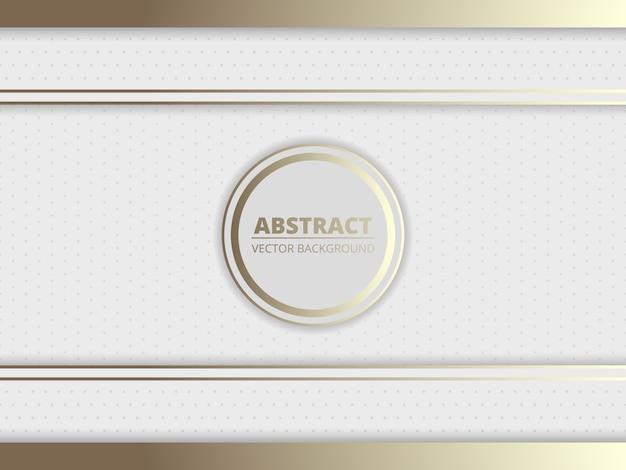Fondo abstracto real blanco y dorado con un círculo y marcos dorados para el nombre de su marca en el medio.