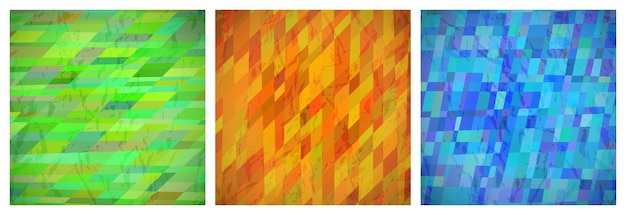 Fondo abstracto con rectángulos de colores. conjunto de tres hermosos patrones de diseño de tarjeta geométrica dinámica futurista. ilustración vectorial