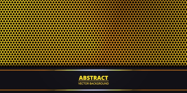Fondo abstracto con rejilla de fibra de carbono hexagonal de oro con líneas luminosas oscuras y claras