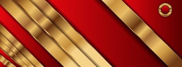 Fondo abstracto rojo estilo geométrico con forma dorada