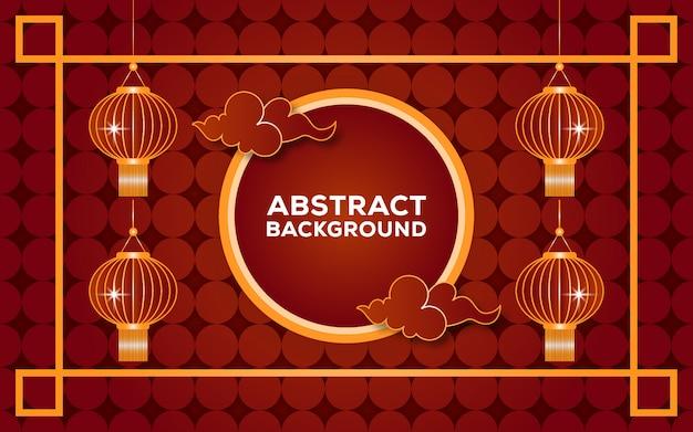 Fondo abstracto rojo y oro chino
