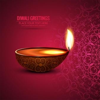 Fondo abstracto rojo con una vela para diwali