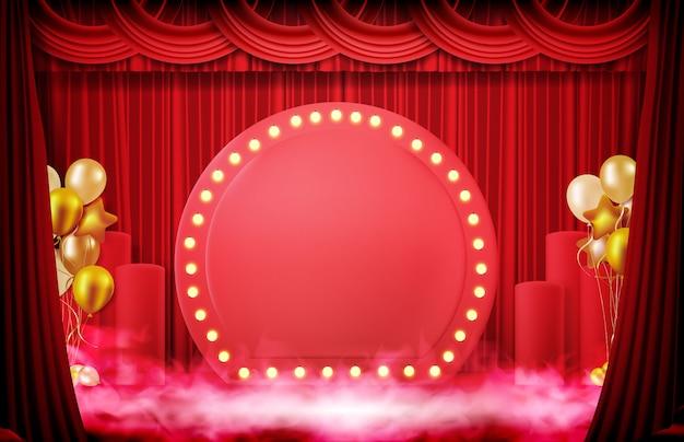 Fondo abstracto de signo con cortina roja