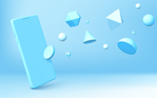 Fondo abstracto con smartphone realista y formas geométricas 3d se dispersan sobre fondo azul. hemisferio, octaedro, esfera, cono, cilindro e icosaedro con representación de teléfono móvil vectorial