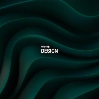 Fondo abstracto con superficie de patrón curvo verde oscuro