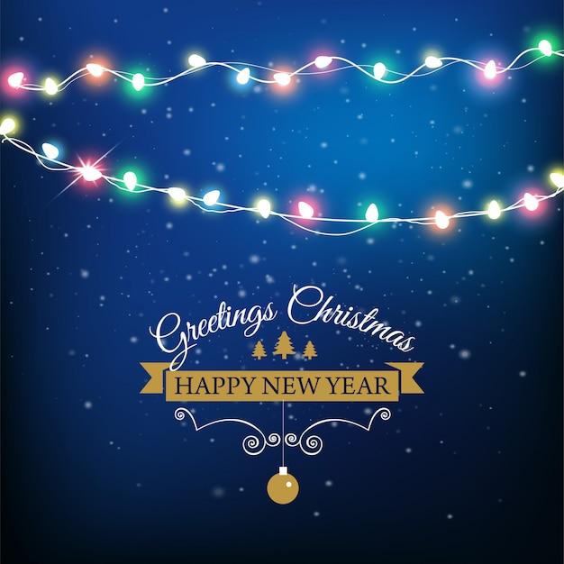 Fondo abstracto para tarjeta de feliz navidad o feliz año nuevo con luces de navidad y copos de nieve.