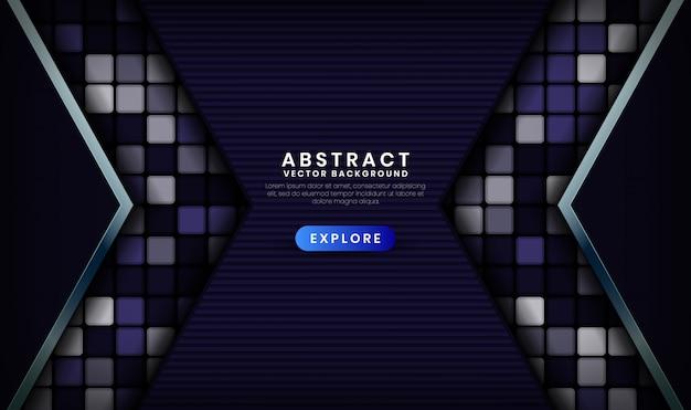 Fondo abstracto de tecnología azul oscuro 3d con cuadrados aleatorios