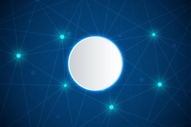 Fondo abstracto de tecnología y ciencia con línea conectada y puntos.