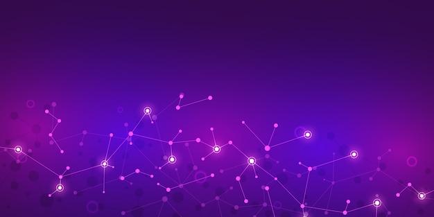 Fondo abstracto de tecnología e innovación con estructuras moleculares y red neuronal. moléculas de adn e ingeniería genética. concepto técnico y científico.