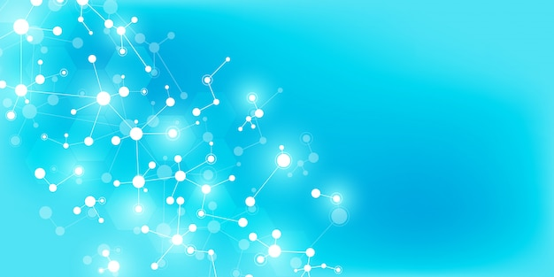 Fondo abstracto de tecnología e innovación con estructuras moleculares y red neuronal.