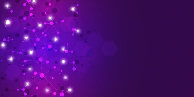 Fondo abstracto de tecnología e innovación con estructuras moleculares y red neuronal