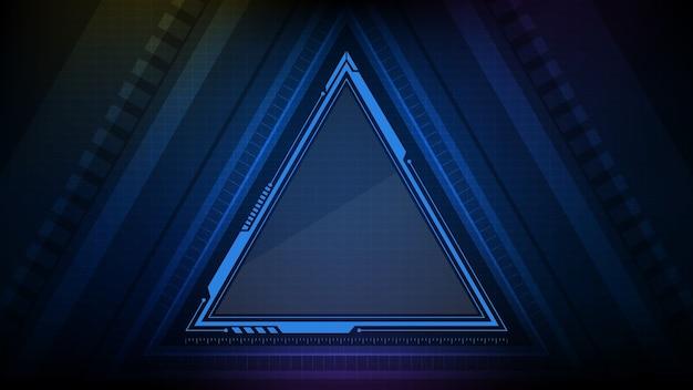 Fondo abstracto de tecnología estrella triángulo azul brillante marco de ciencia ficción hud ui