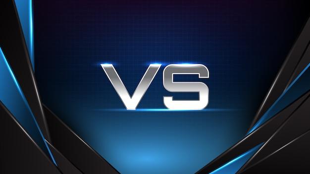Fondo abstracto de tecnología futurista azul brillante línea de movimiento azul y negro y texto versus battle