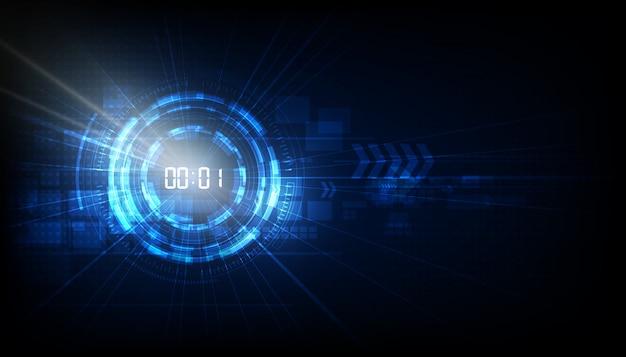Fondo abstracto de tecnología futurista con concepto de temporizador de número digital y cuenta regresiva