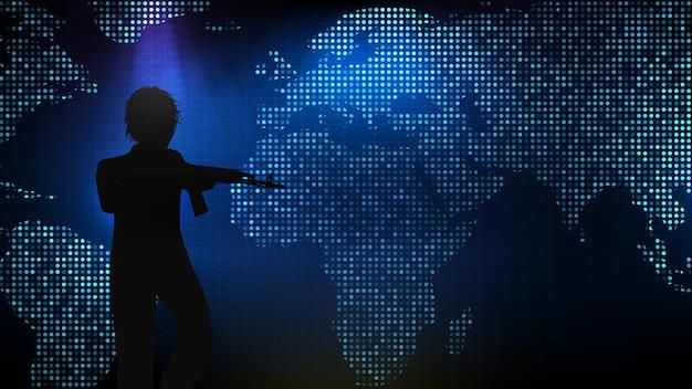 Fondo abstracto tecnología futurista de silueta hombre con pistola ak 47 y mapa africano