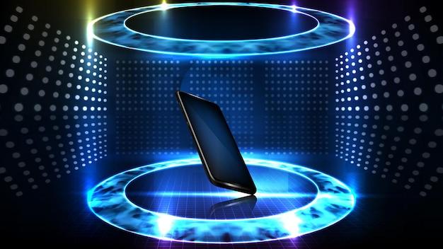 Fondo abstracto de tecnología futurista. teléfono móvil inteligente brillante con elemento halograma vr hud