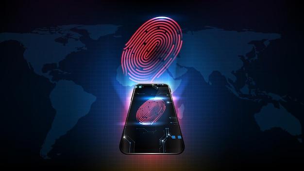 Fondo abstracto de tecnología futurista teléfono móvil inteligente con verificación de identidad de escaneo de huellas dactilares