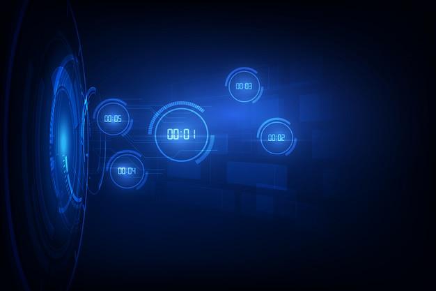 Fondo abstracto de tecnología futurista con temporizador numérico digital y cuenta regresiva, transparente
