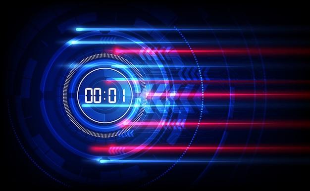 Fondo abstracto de tecnología futurista con temporizador numérico digital y cuenta regresiva