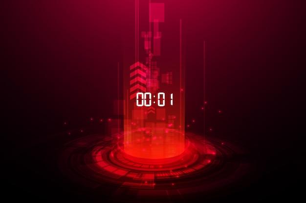 Fondo abstracto de tecnología futurista con temporizador de número digital