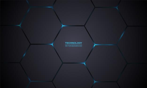 Fondo abstracto de tecnología hexagonal gris oscuro.