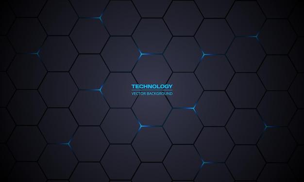 Fondo abstracto de tecnología hexagonal gris oscuro