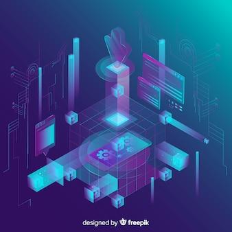 Fondo abstracto de tecnología isométrica