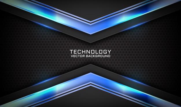 Fondo abstracto de tecnología negra 3d con efecto de luz azul en el espacio oscuro