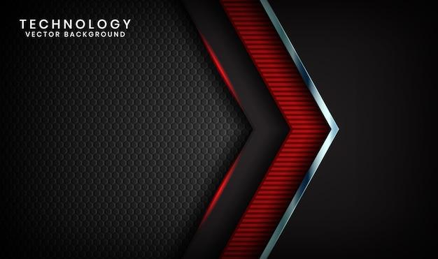 Fondo abstracto de tecnología negra 3d con efecto de luz roja en el espacio oscuro
