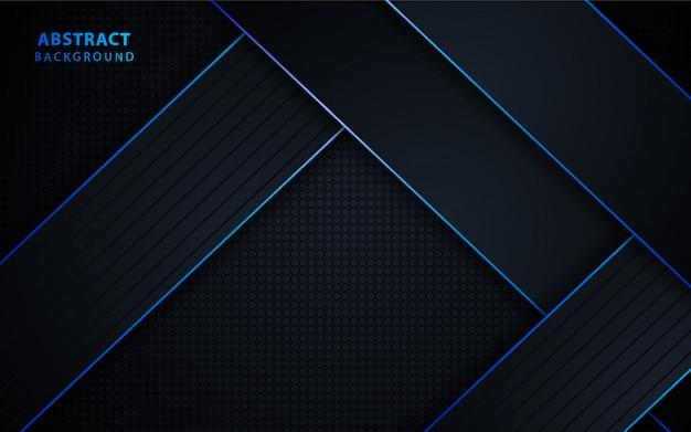 Fondo abstracto tecnología negro con azul metálico