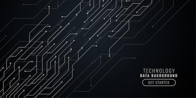Fondo abstracto tecnología negro con líneas de circuito