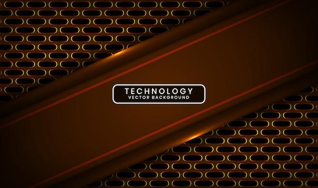 Fondo abstracto de tecnología oscura 3d con capa de superposición metálica ovalada con decoración de efecto de luz amarilla