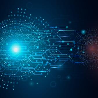 Fondo abstracto de la tecnología, placa de circuito en color azul marino.