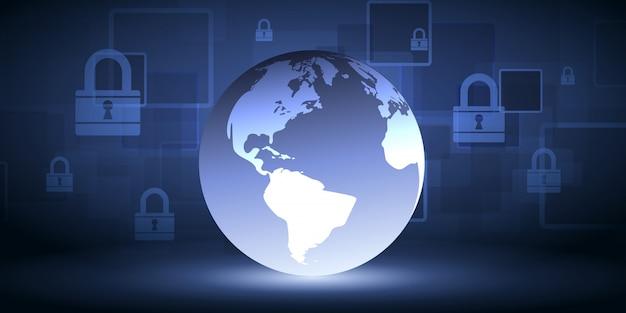 El fondo abstracto de la tecnología protege la innovación del sistema. concepto digital de seguridad cibernética.