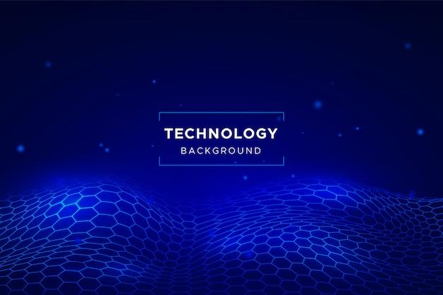Fondo abstracto de tecnología con rejilla hexagonal