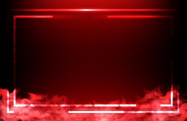 Fondo abstracto de tecnología roja hud ui marco con humo