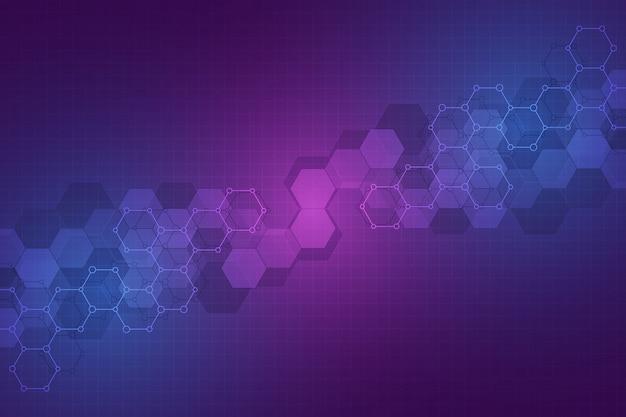 Fondo abstracto de tecnología. textura geométrica con estructuras moleculares e ingeniería química.