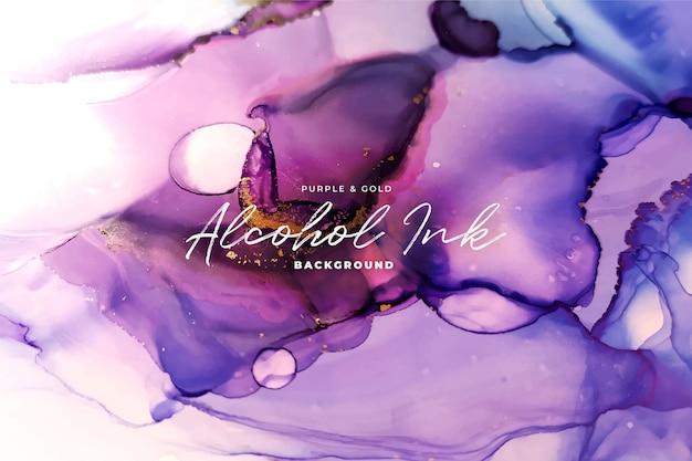 Fondo abstracto de tinta de alcohol púrpura y oro