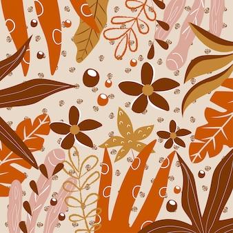 Fondo abstracto en tonos marrones con hojas tropicales.