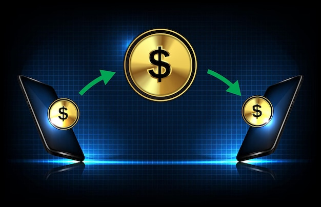 Fondo abstracto de transferencias de dinero de teléfono inteligente de fondo futurista con moneda de dólar
